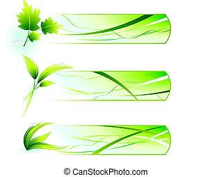 녹색, 자연, 아이콘, 와, 배너