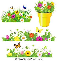 녹색 잔디, 와, 꽃, 세트