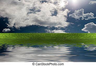 녹색 잔디, 와, 하늘