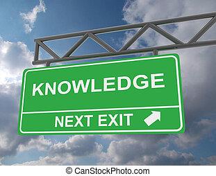 녹색, 전반적인, 도로 표지, 와, a, 지식