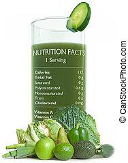 녹색, 주스, 와, 영양 사실