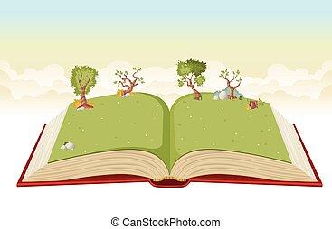녹색, 책, 열려라, park.