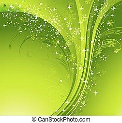 녹색, 크리스마스, 기치, 와, 눈송이