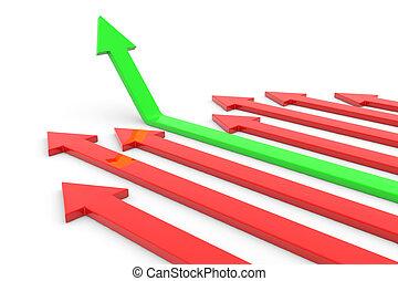 녹색, 화살, 올라가고 있는., 개념, 의, 성공, growth.