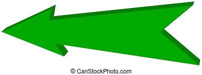녹색, 화살, 은 조준했다, -, 3차원, 삽화