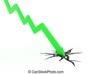 녹색, 3차원, 화살, 그래프, 은 이동한다, 아래로의