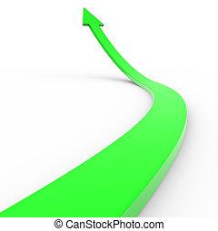 녹색, 3차원, 화살, 올라가고 있는.