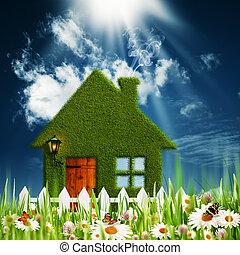 녹색, house., 환경, 배경, 치고는, 너의, 디자인