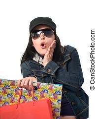 놀란다, 여자, 와, 쇼핑 백, 고립된, 통하고 있는, 그만큼, 백색 배경