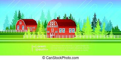 농가, 헛간, 건물, 들판, 농지, 시골, 조경술을 써서 녹화하다