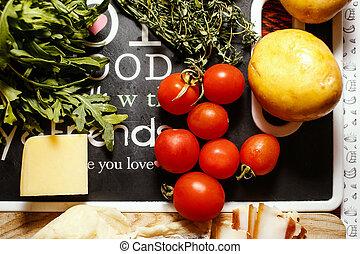 농부, 과일, 신선한시장, 야채, 테이블, 빨강