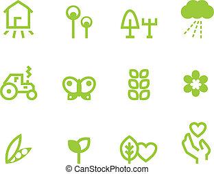 농업, &, 경작, 아이콘, 세트, 고립된, 백색 위에서, (, 녹색, )