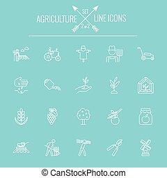 농업, 아이콘, set.