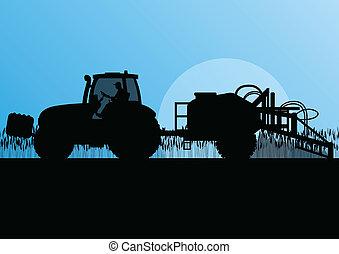 농업, 트랙터, 뿌리는 것, 구충제, 에서, 경작된다, 나라, 곡물, 들판, 조경술을 써서 녹화하다, 배경, 삽화, 벡터