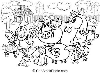 농장 동물, 만화, 채색, 페이지