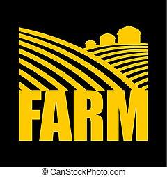 농장, logo., 농업, 서명해라., 경작에 알맞은, 땅, 와..., 농장, 땅
