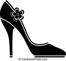 높은, 구두, 발꿈치로 바닥을 구르다, (silhouette)