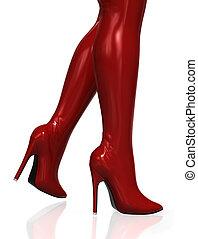 높은, 뜨거운, 허벅다리, 빨간 부츠