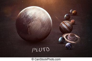 높은, 성분, 행성, 공급된다, 이것, 심상, -, 체계, 명왕성, 은 선물한다, 심상, nasa, 태양의, chalkboard., 결의안