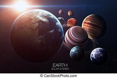 높은, 성분, 행성, 공급된다, system., 심상, -, nasa., 은 선물한다, 이것, 태양의, 심상, 지구, 결의안