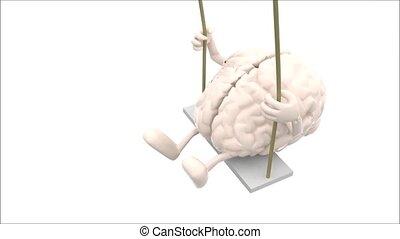 뇌, 와..., 심장, 통하고 있는, a, 그네
