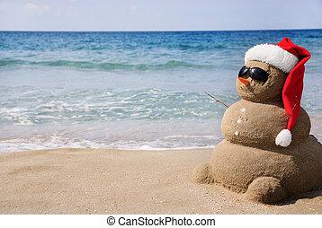 눈사람, 이다, 개념, sand., 사용된다, 만든, 양철통, 년, 카드, 새로운, 휴일, 크리스마스, 나가