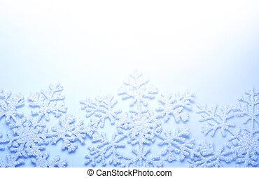 눈송이, border., 겨울 휴가, 배경