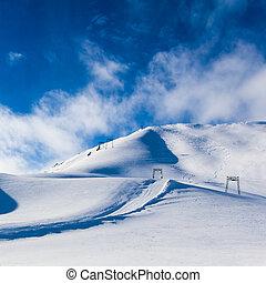눈, mountain., 산, 억압되어, 눈, 에서, 그만큼, 겨울