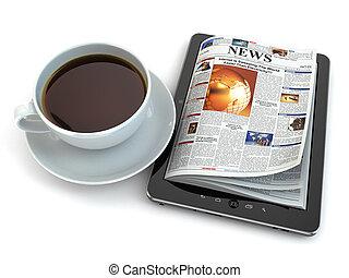 뉴스, 통하고 있는, 알약 pc, 와, 커피, cup.