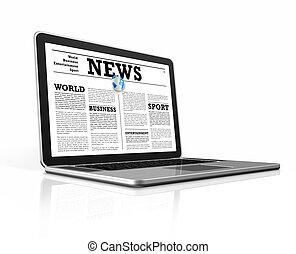 뉴스, 통하고 있는, a, 휴대용 컴퓨터, 고립된, 백색 위에서