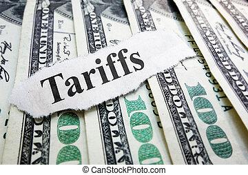 뉴스 표제, tariffs, 돈