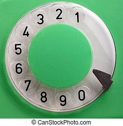 늙은, 녹색, 회전하는 전화