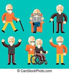 늙은, 더 낡았다, 통신, 사람., 위로, 나이 먹은, 활동, 걱정, 나이