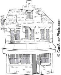 늙은, 돌, house., vector.