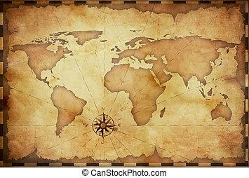 늙은, 떼어내다, grunge, 세계 지도