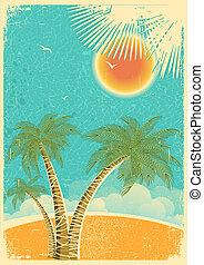늙은, 바다 종려, 자연 색, 포도 수확, texture.vector, 삽화, 열대적인, 종이, 배경, 섬, 태양