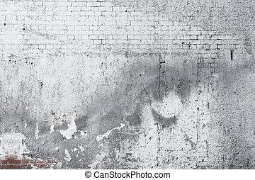 늙은, 벽, 콘크리트, 배경, 깨진, 벽돌