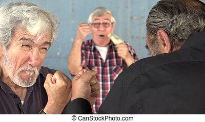늙은, 사람, 싸움, 노여움, 노름하는, 남자