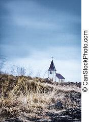 늙은, 시골, 교회, 에서, 아이슬란드
