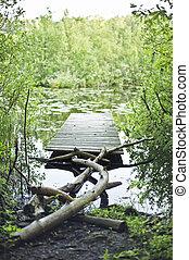 늙은, 어업, 다리, 통하고 있는, 그만큼, 호수