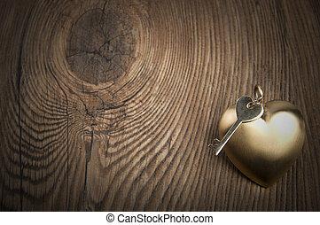 늙은, 열쇠, 와..., 금, heart., 열쇠, 의, 나의, 심장, concept., 발렌타인 데이, greetings.