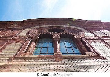 늙은, 조형, 너울거리다, 창문, 교회, 정면, 태양, stucco