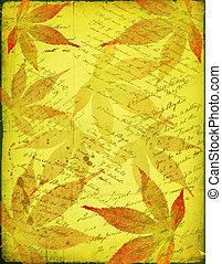 늙은, 종이, 와, 가을의 잎