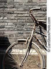 늙은, 중국어, 자전거, 향하여, 벽돌 벽