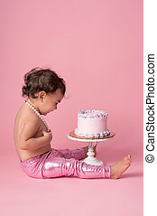 늙은, 1명의 아기, 생일, 년, 케이크, 소녀