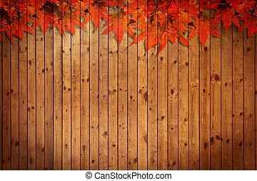 늙은, grung, 나무의 옷감, 와, 잎, 사용, 치고는, 배경