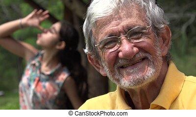 늙은, photobomb, 연장자 남자
