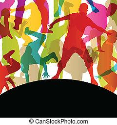 능동의, 젊은이, 와..., 여자, 거리, 걷히다, 춤추는 사람, 실루엣, 에서, 떼어내다, 배경, 삽화,...