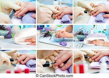 니스, nails., 덮음, 손가락, 청소, 손, manicure., 걱정