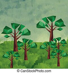 다각형, 조경술을 써서 녹화하다, 와, 녹색, 나무., 벡터, 문자로 쓰는
